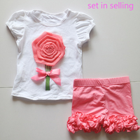 rose pattern ruched shirts outfits hot pink ruffles short legging set cotton set in selling