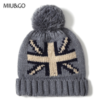 Women Men Crimping Stretchable Knit Beanie Hat Winter Union Flag Pattern With Ball Warm Skullies Braid