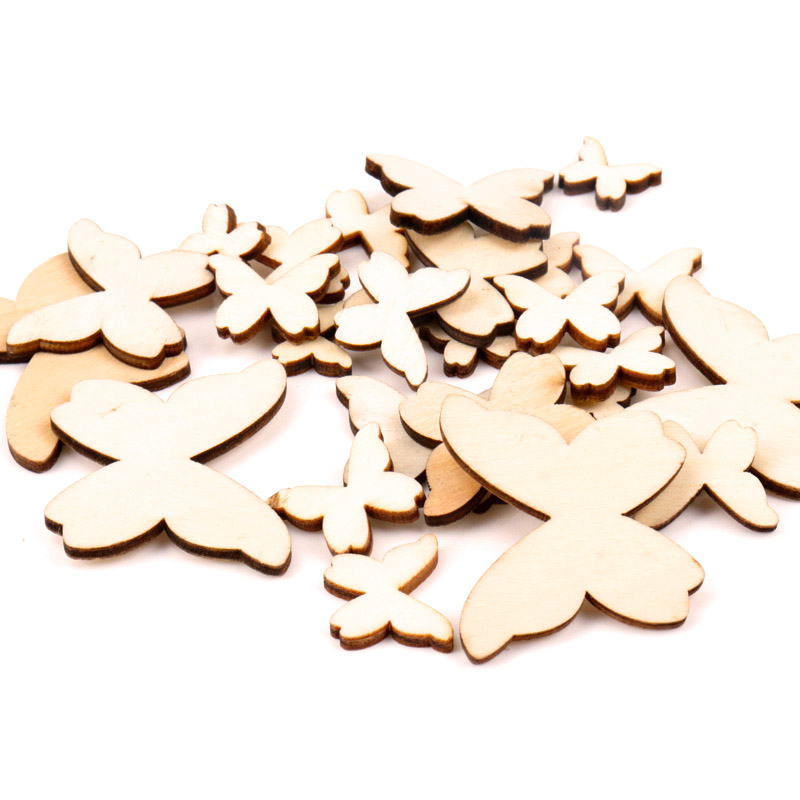 10/15/20/30/40mm 50pcs Wooden Butterfly Pattern Scrapbooking Art Collection Craft For Handmade Accessory Sewing Home
