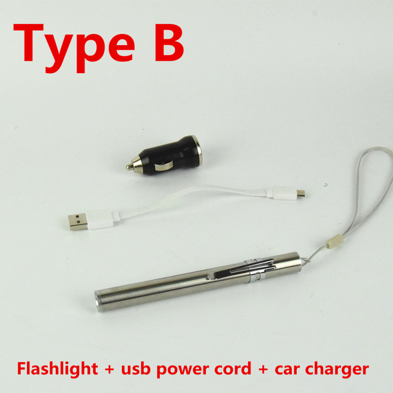 AIFENG mini usb flashlight rechargeable micro keychain portable waterproof Stainless steel medical DC 5V charging car charger