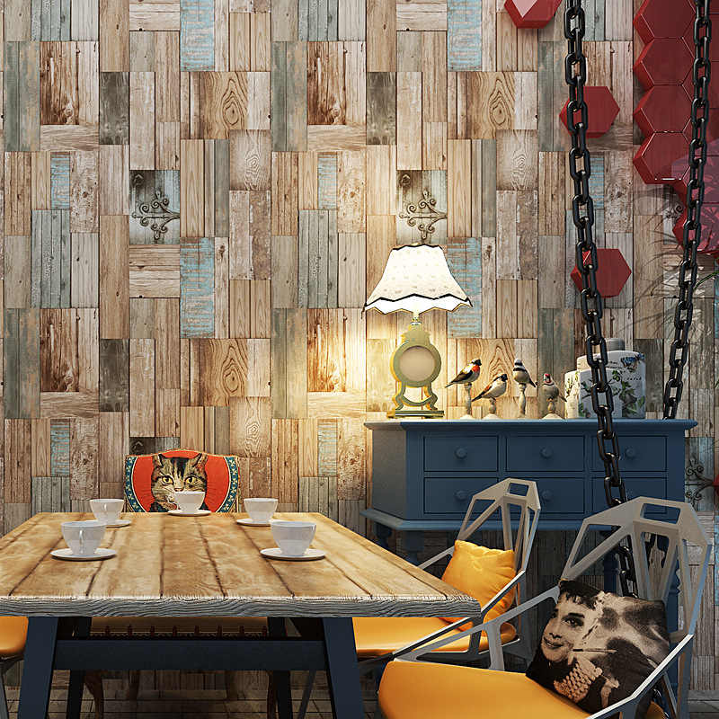 Mediterranean Retro Old Colored wood wallpaper bar restaurant Coffee shop wallpaper Home background wall decoration sticker