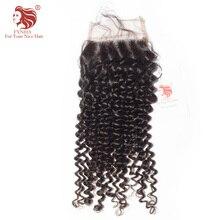 "[FYNHA] Peruvian Kinky Curly Virgin Hair Lace Closure Natural Color 100% Human Hair Free Part 4""x 4"" Free Shipping"