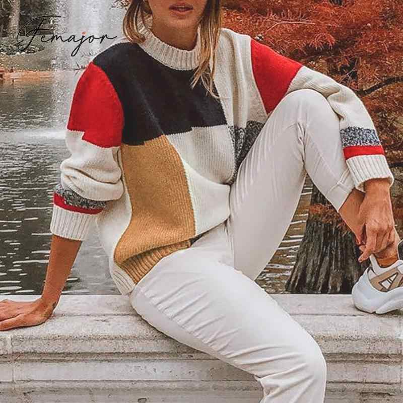 Femajor Women Autumn Winter Sweater Fashion Multicolor Block O Neck Pullover Female Causal Long Sleeve Knit Tops Mujer Jumpers