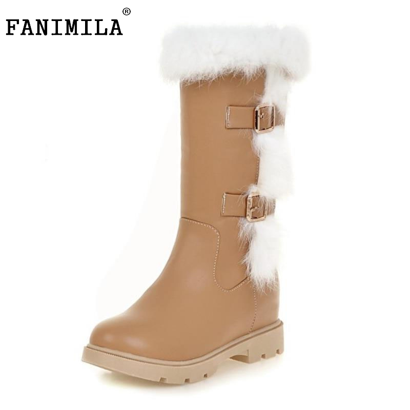 Women Round Toe Low Heel Mid Calf Boots Woman Fashion Buckle Style Half Boot Female Fur Winter Shoes Footwear Size 34-43