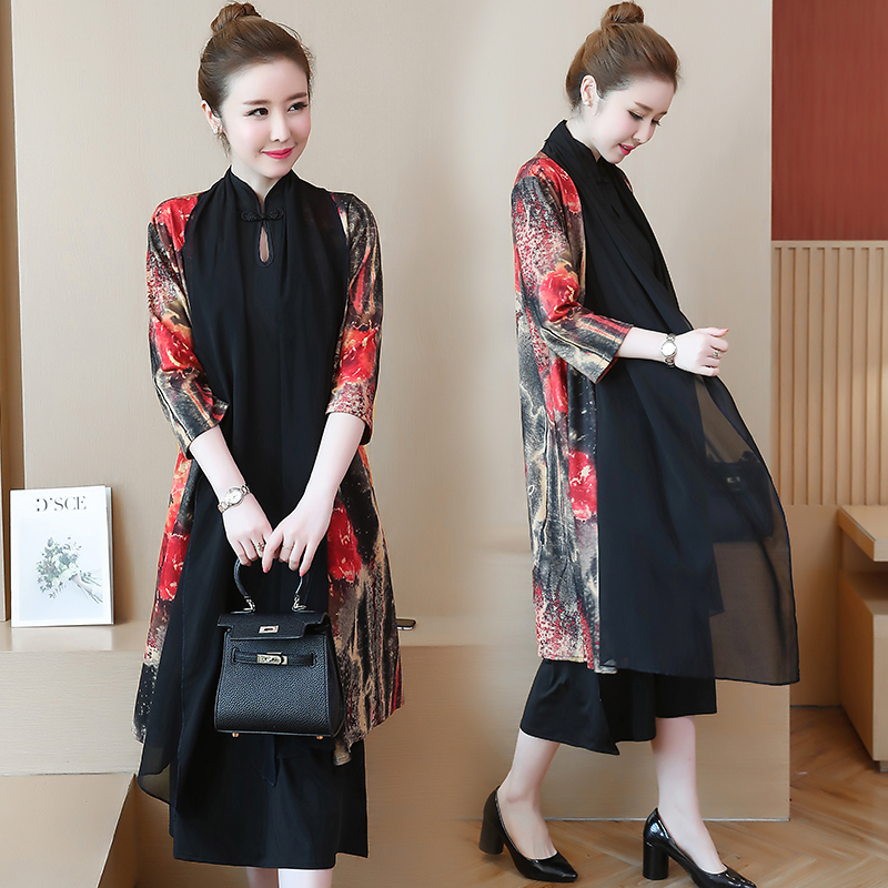 Women 2 piece dress with cardigan plus size elegant vintage print floral midi party dresses 2019 spring Chinese style clothes in Dresses from Women 39 s Clothing