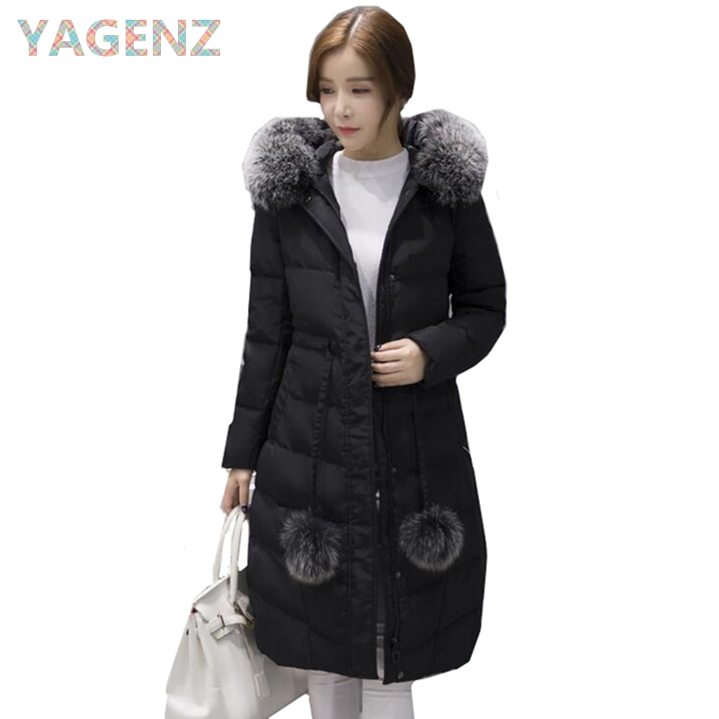 Winter Parker Hooded Jacket Female High Quality Slim Large Fur collar Long Coat Winter Solid Warm Women Cotton Jacket Plus Size binyuxd women warm winter jacket 2017 fashion women hooded fur collar down cotton coat solid color slim large size female coat