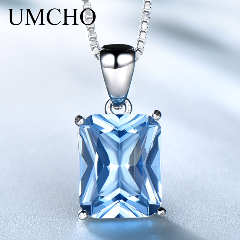 UMCHO Gemstone Nano Blue Topaz Pendants Necklaces For Women Brand Fine Jewelry Genuine 925 Sterling Silver Square Party Jewelry