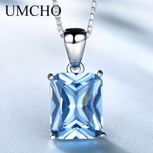 UMCHO Gemstone Nano Blue Topaz Pendants Necklaces for Women Brand Fine Jewelry Genuine 925 Sterling Silver Square Party