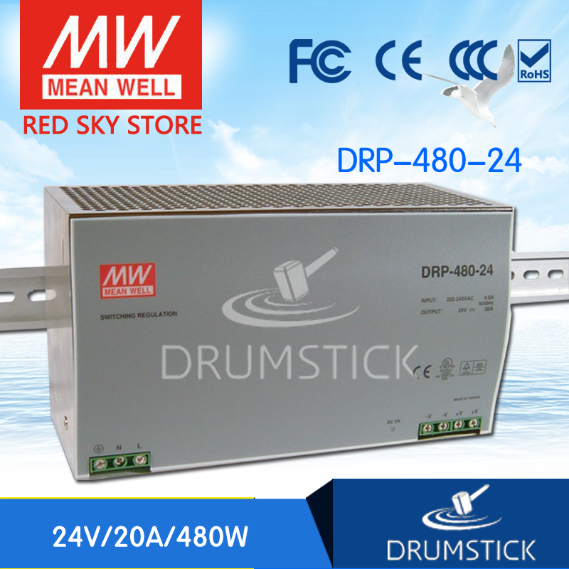 Competitive Products MEAN WELL DRP-480-24 24V 20A meanwell DRP-480 480W Single Output Industrial DIN Rail Power Supply [Hot1] [sumger2] mean well original drp 240 24 24v 10a meanwell drp 240 24v 240w single output industrial din rail power supply