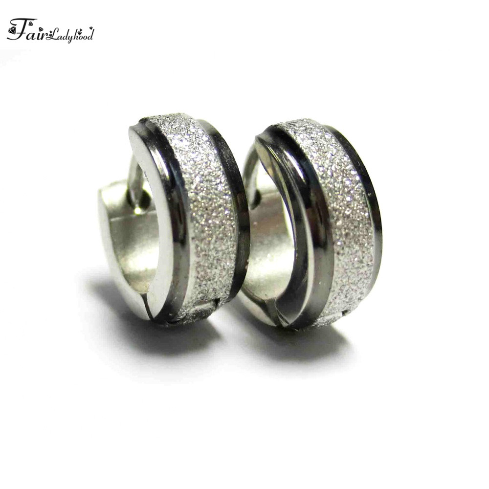 FairLadyHood 4 x 10 mm Black and Silver -Color Stainless Steel Hoop Earrings Small Loop Women Brincos Jewelry for besties