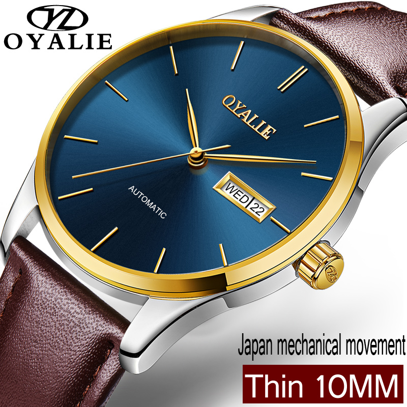 OYALIE Big Face Mechanical Watch For Man Genuine Leather Male Automatic Wristwatches Clock Gold Case Men Watches horloges mannen