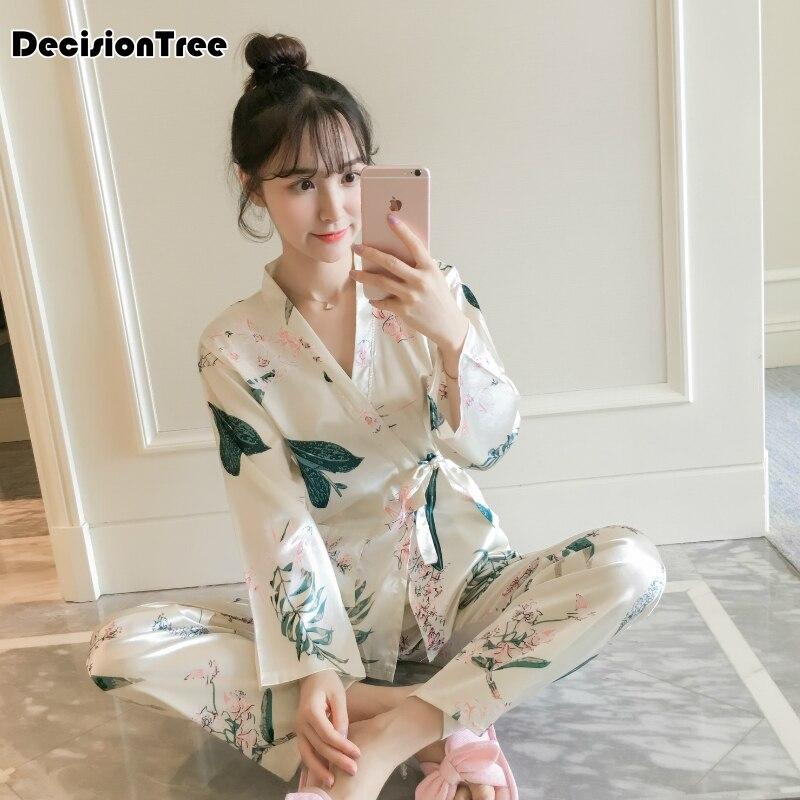 Sleepwear Satin Silk Pajamas Set Women Long Sleeve Top And Pants Pyjama Suit Female Nightwear Casual Home Wear