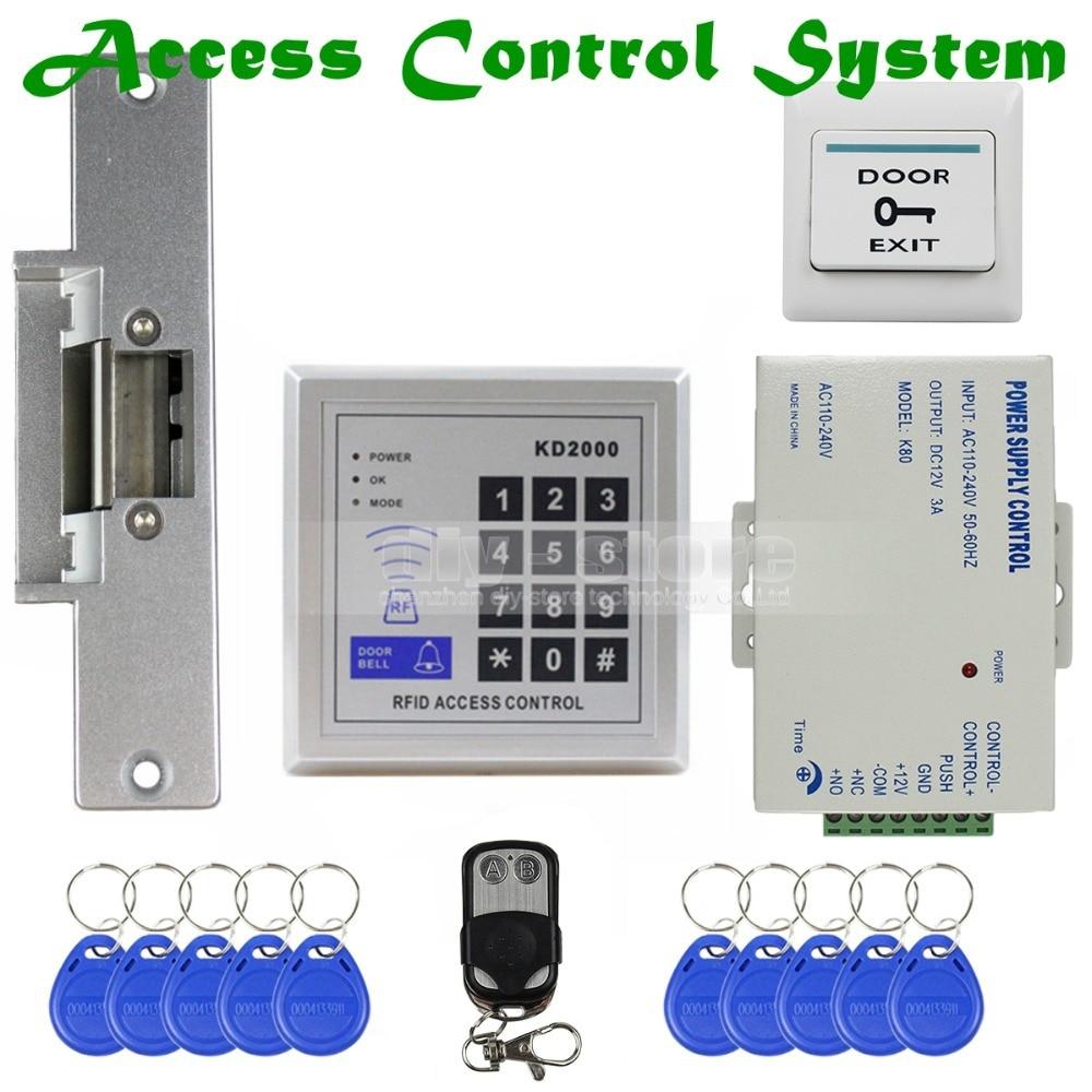 ФОТО DIYSECUR Remote Controll ID Card Reader Password Keypad Access Control Security System Kit + Strike Lock KD2000