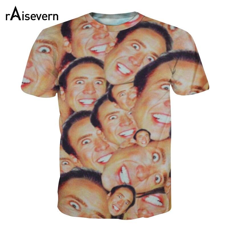 Moda quente nicolas cage louco engraçado impressão olhar para você 3d camiseta para mulheres masculinas casual 3d topo t s/m/l/xl/xxl/3xl