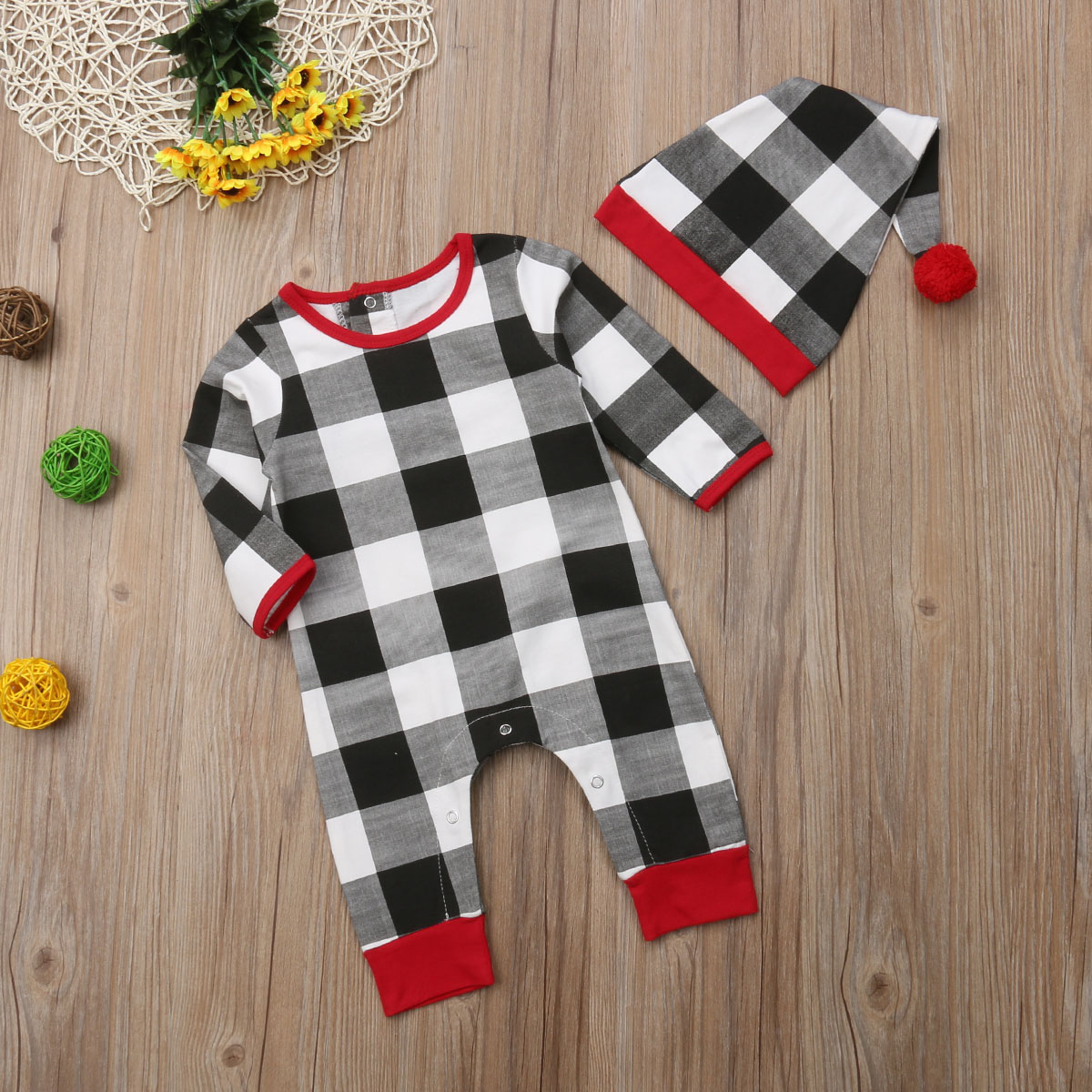 684f8cc259a 2019 Pudcoco Xmas Baby Rompers Newborn Baby Boy Girl Check Plaid ...