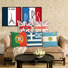 RECOLOUR fashion National flag home Decorative Throw Pillow  Cotton Linen Cushion cover For Sofa pillow covers Almofadas cojines