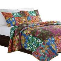 High Quality American Style 100% Cotton Quilted 3 Pieces Floral Bedspread&Bed Coverlet