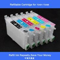 T0491-T0496 R210 R230 R310 R350 RX510 RX630 RX650 Nachfüllbare tintenpatrone für R210/R310/R350/RX510/R230 mit ARC  1 Satz  6 STÜCKE