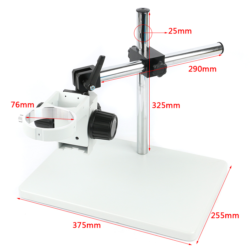 Big Size Heavy Duty Adjustable Boom Large Stereo Arm Table Stand 76mm Ring Holder For Lab Industry Stereo Microscope Camera