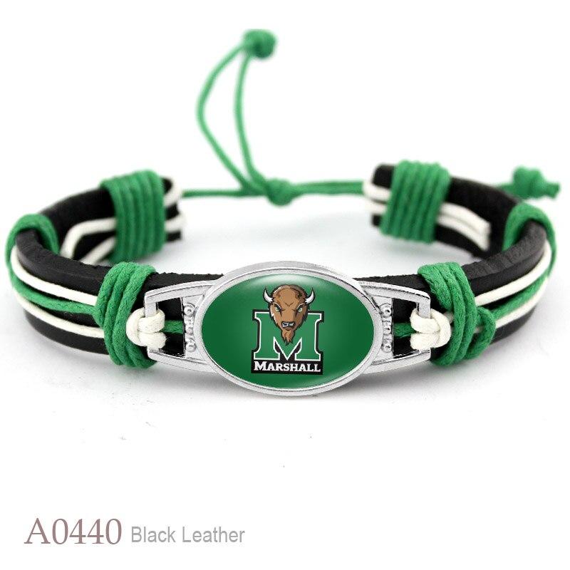 Marshall Thundering Herd College Football Team Real Leather Bracelet For Women Men Jewelry