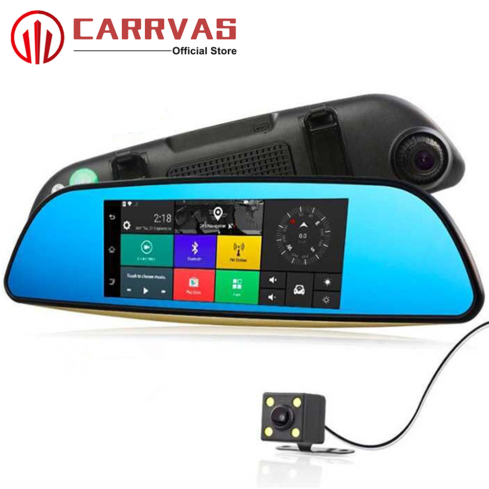 CARRVAS Car GPS Android 5.0 7 Inch 1280*480 1080P GPS Mirror Camera with Rear View Camera G SENSOR Navigator GPS DVR