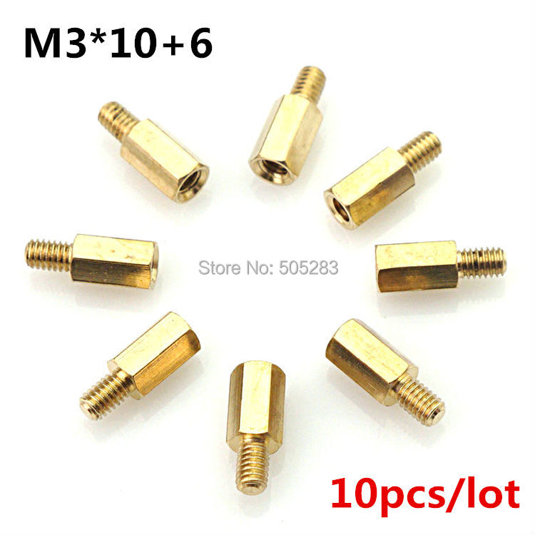 10pcs Motherboard Riser M3x10+6 Hexagon Copper Screws M3*10mm Hex Head Nut Computer PC Repair Power Screw Washer Tool HY028 10x 6 5mm brass standoff 6 32 m3 pc case motherboard riser screws washers
