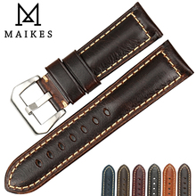MAIKES Handmade Retro Watchband Vintage Oil Wax Leather Watch Strap 20mm 22mm 24mm 26mm Accessories Band For Panerai