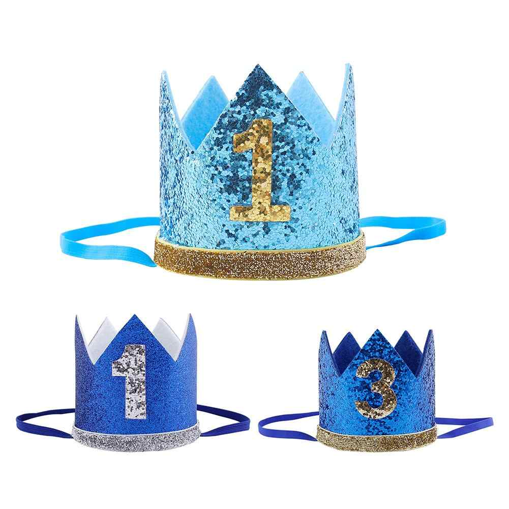 Boy Blue Silver First Birthday Hat Girl Gold Pink Priness Crown Number 1st 2 3 Year Old Party Hat Glitter Birthday Headband 40