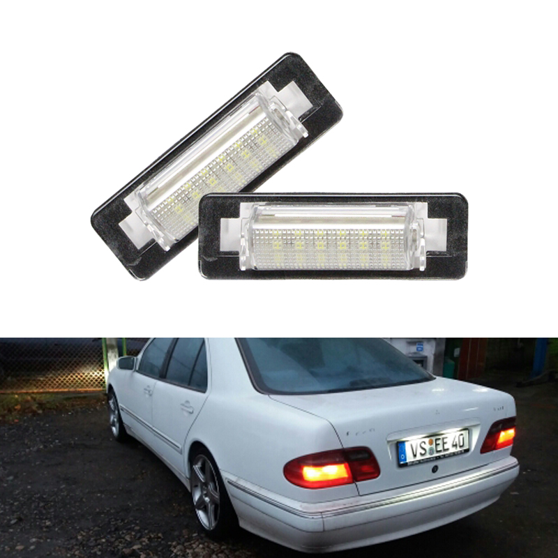 CANbus Car Rear <font><b>Led</b></font> Number License Plate Light For Mercedes Benz W210 E300 E320 E420 <font><b>W202</b></font> 4D C230 C280 C43 AMG White <font><b>Led</b></font> Lamp image