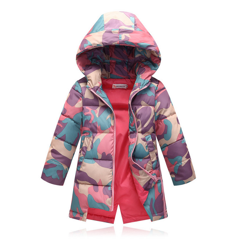 2016 New Girls Winter Coat Cotton padded Jacket Children Hooded Fashion Long Camouflage Outerwears Parkas Wadded