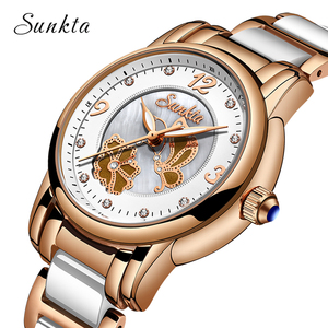 Image 3 - SUNKTA Rhinestone Rose Gold Top Brand Luxury Watches Women Sport Waterproof Watch Fashion Casual Clock Women Watch Zegarek Damsk