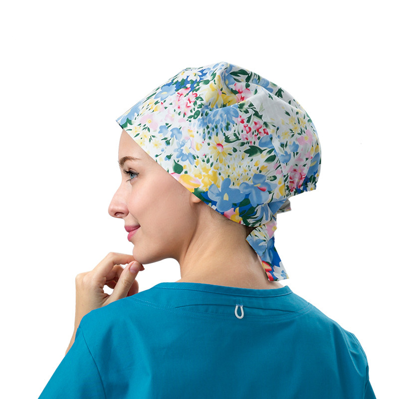 Floral Female Hospital Surgical Cap Doctors Operating Room Hats Dentistry Beauty Working Hats Pet Doctor Printing Gourd Hats