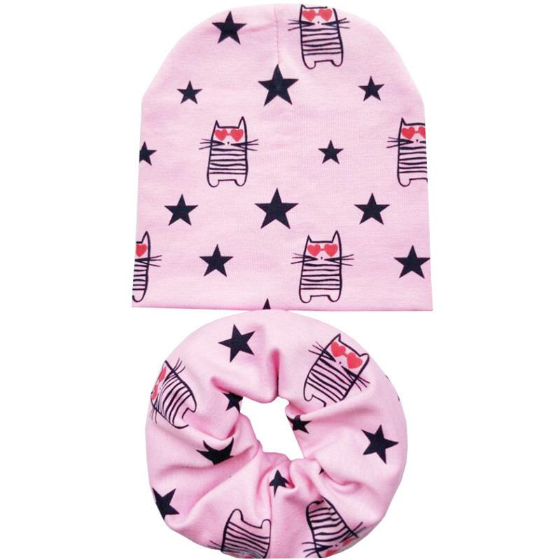 New Baby Hats for Girls Autumn Winter Baby Cap Scarf Love Cats Owls Baby Hats for Boys Child Hat Caps Kids Beanie Accessories