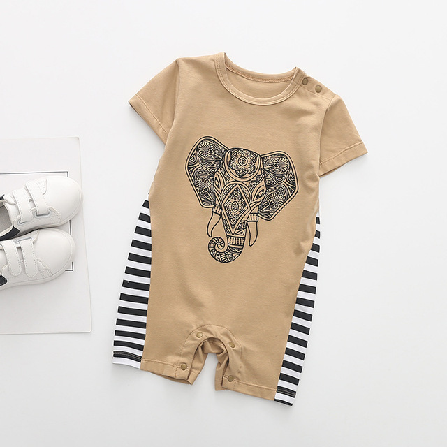6135eaf47e919 2018 Cotton Short Sleeve Baby Rompers Thai Elephant Pattern Fashion Baby  Boy Girl Clothes Toddler Boy Jumpsuits