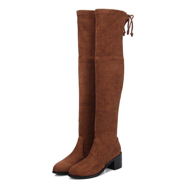 Black Rodilla Otoño brown Mujeres gray Invierno Moda Vaca Botas Encima Tacones Largo De Por La Zapatos Ante Cr749 Elástico Bolso Gruesos Enmayer Las qRx1gX