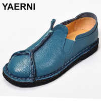 YAERNI women shoes leather Loafers mother casual fashion slip-on girls shoes breathable comfortable woman Dress Solid flats