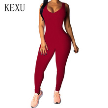 KEXU Sexy Lace-up Backless Bandage Bodycon Jumpsuit Sleeveless Sporting Playsuit Women Summer Casual Street Style Bodysuits