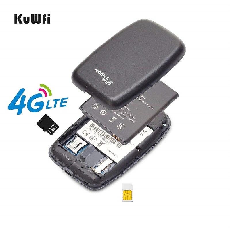 Image 4 - KuWFi разблокированный 4G LTE мобильный wi fi роутер портативный 3g/4G Wifi роутер с слотом для sim карты поддерживает LTE FDD B1/B3/B5-in 3G/4G маршрутизаторы from Компьютер и офис