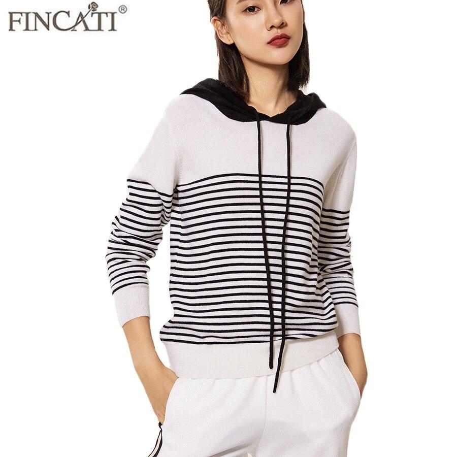 Femmes chandail haut de gamme 100% cachemire à manches longues 5 couleurs Oversize 3XL chaud hiver rayé à capuche chandails pull Jersey