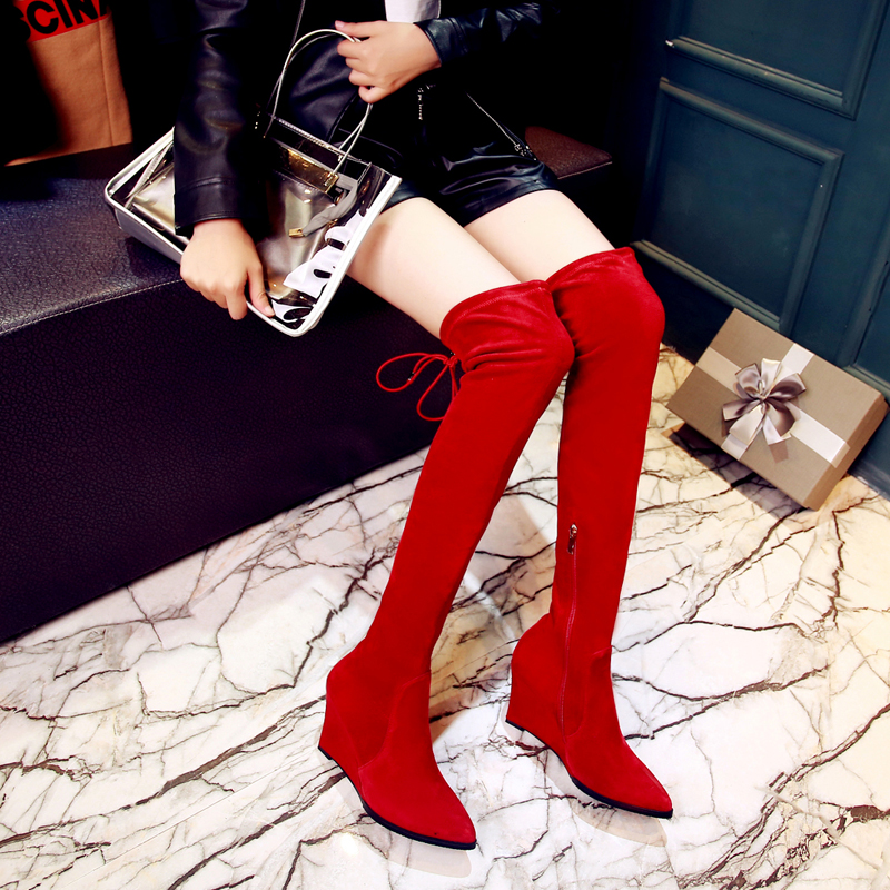 ФОТО 2016 Women's Wedge Over The Knee Tall Boots Genuine Suede Leather Stretch Slip-on Long Boots Brand Designer Winter Shoes Women
