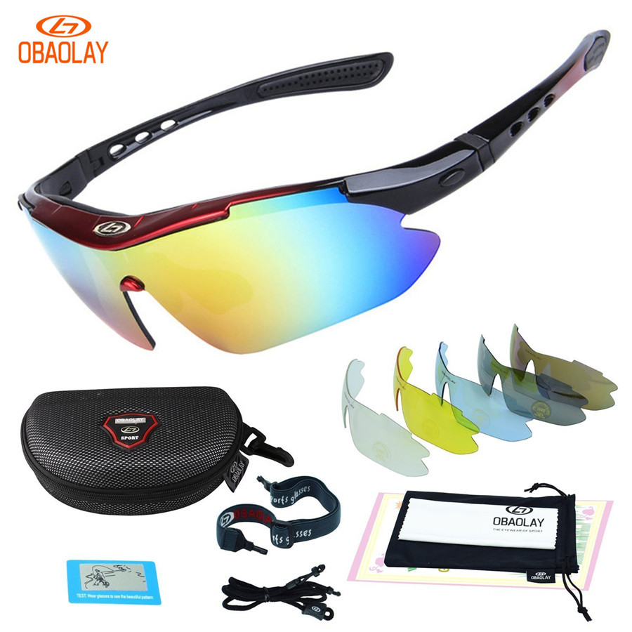 OBAOLAY Polarized UV400 Cycling Sunglasses Bicycle Bike Eyewear Goggle Riding Outdoor Sports Fishing Glasses 5 Lens kallo 99151 outdoor sports grey lens uv400 polarized sunglasses black