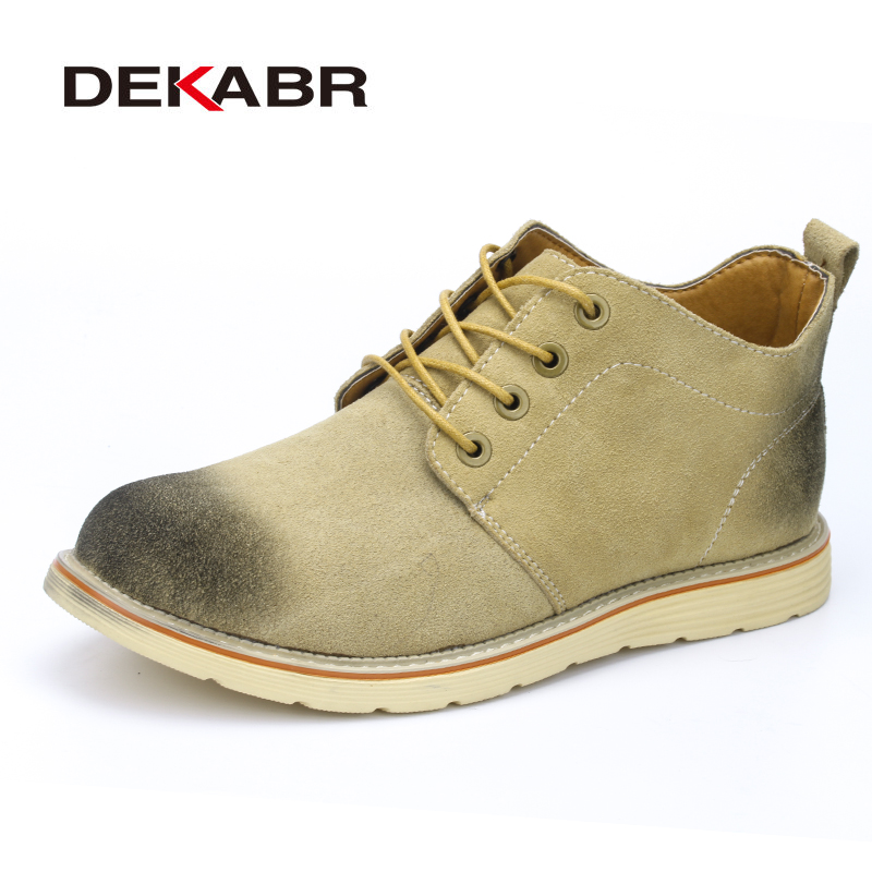 DEKABR Retro Style Lace-Up Casual Shoes Men New Arrival Suede Leather Autumn Spring High Quality Antiskid Footwear Men Shoes 2017 spring brand new fashion pu stretch fabric men casual shoes high quality men casual shoes lace up casual shoes men 1709