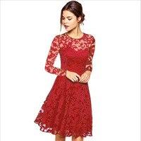 Новый 2018 модные, пикантные Кружево платье Для женщин Одежда с круглым вырезом с длинным рукавом выдалбливают женское платье Фея Дамы Vestidos De