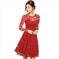 New 2018 Fashion Sexy Lace Dress Women Colthing Solid O Neck Long Sleeve Hollow Out Women Dress Fairy Ladies Vestidos De Fiesta