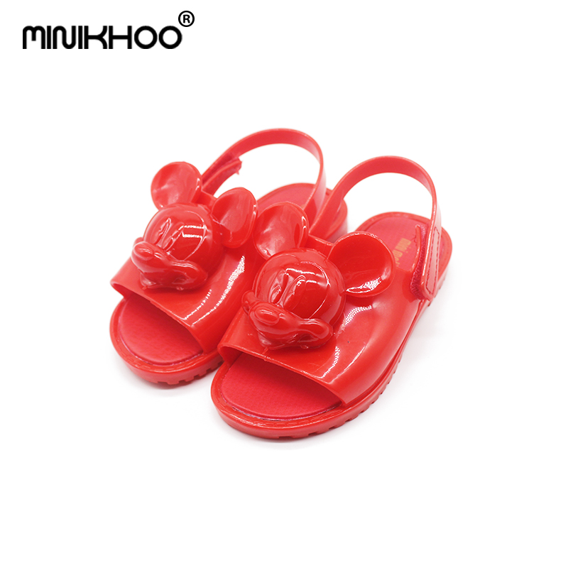 16d098a28f194 Mini Melissa 2018 New 1 1 Original Mickey Minnie Head Jelly Sandals For  Girls Cute Baby Sandals Girls Shoes Beach Sandals Water