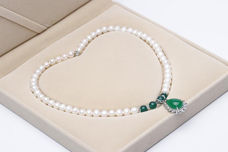 Collier de perles d'eau douce blanches naturelles 8-10mm, collier pendentif, ensemble de collier, est le meilleur cadeau pour les gens - 2