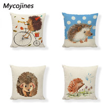 Lovely Hedgehog Cushion Covers Candy Colors Geometric Flowers Baby Room Printed Decor Sofa Seat Linen Cotton Throw Pillows Cases(China)