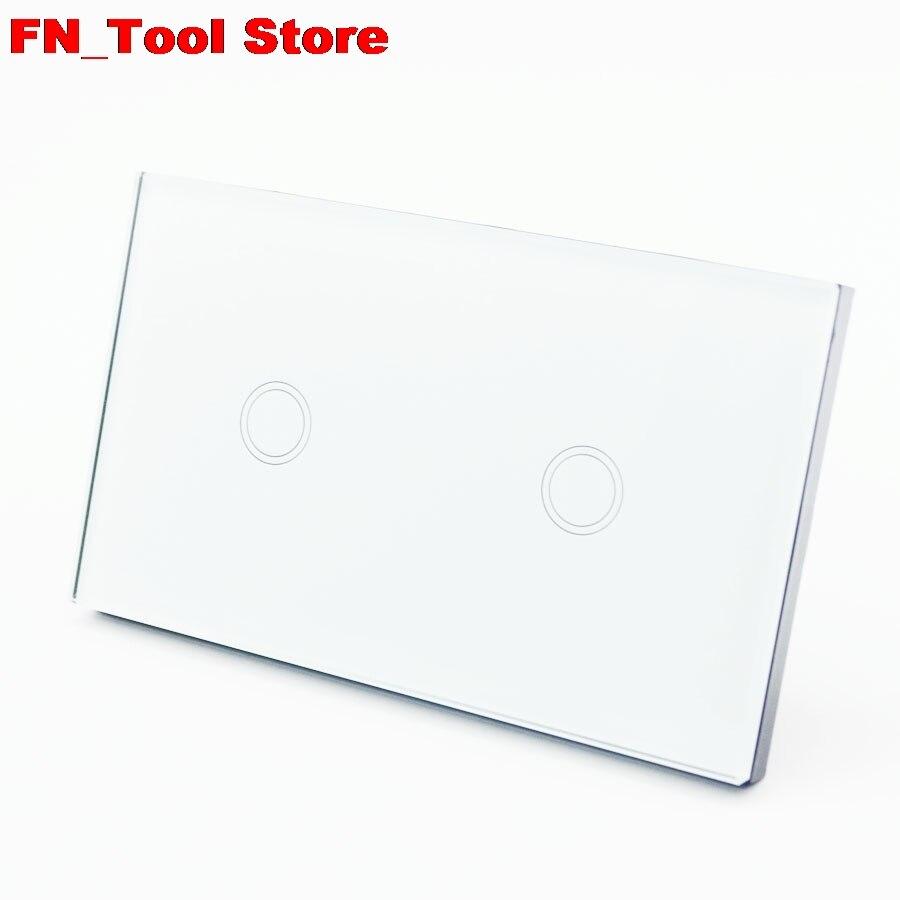 Interrupteur tactile 2 gangs 1 voie US standard panneau de verre cristal simple FireWire interrupteur mural tactile - 2