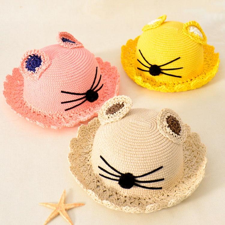 Letní klobouky Kojenecká dětská slunečník Klobouk Kočičí uši Ručně tkaný slámový kšilt Baby Měkké prodyšné dětské čepice Baby Touca Infantil T