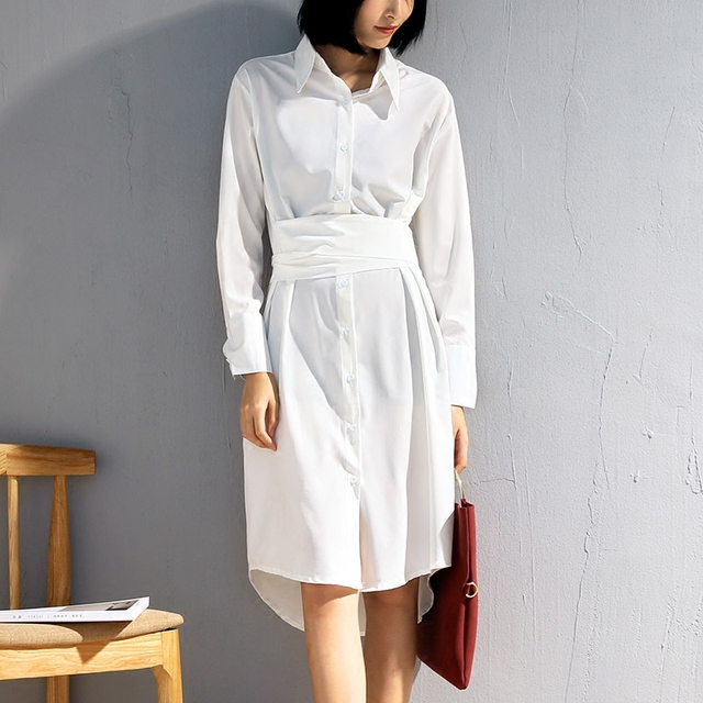 42575d3bcb Blusa larga con pajarita cinturón para las mujeres de manga completa  rodilla alargar Turn-Down